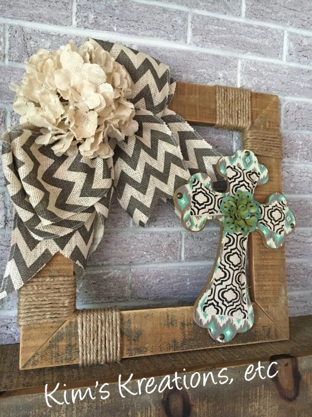 Pallet Wood Wreath, Cross Wreath, Rustic Burlap Wreath...may keep same for year or change colors for Christmas