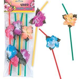 Hawaii sugerør med meget smukke blomster, til Hawaii drinks og fest. #Hawaii #temafest #drinks