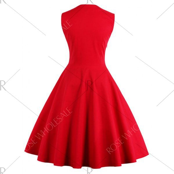 Midi Polka Dot Prom Rockabilly Swing Vintage Prom Dresses - Red 2xl Mobile