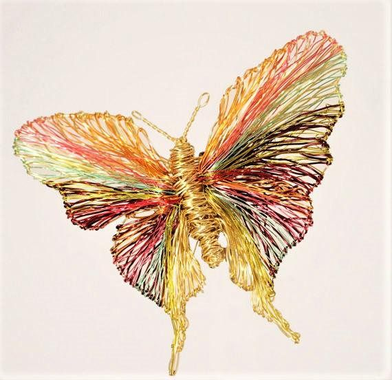 Gold butterfly brooch, insect art jewelry, wire sculpture, large brooch, Christmas present for mom, modern hippie, unusual, colorful jewelry  The height of the gold butterfly is 9cm (3.54 in). The width is 11cm (4.33in). Silver Clip. Modern art, sculptural, wire, rainbow butterfly, a very unusual, unique Christmas present for mom!