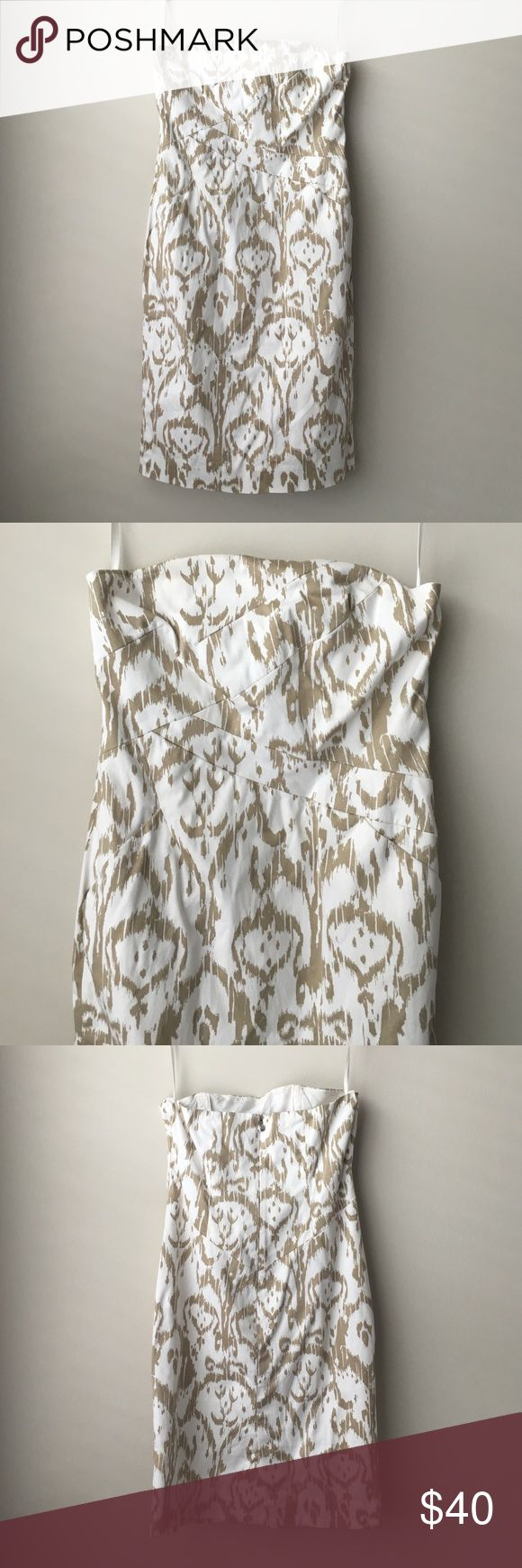 MICHAEL KORS tan white strapless dress Sz 4 MICHAEL KORS tan white strapless dress Sz 4 Michael Kors Dresses Strapless