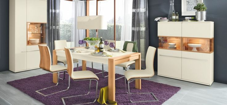 Dining Room, Awesome White Modern Dining Set With Chic Purple Fur Rug And White Cupboard: Exciting Modern Dining Room Inspiration Ideas