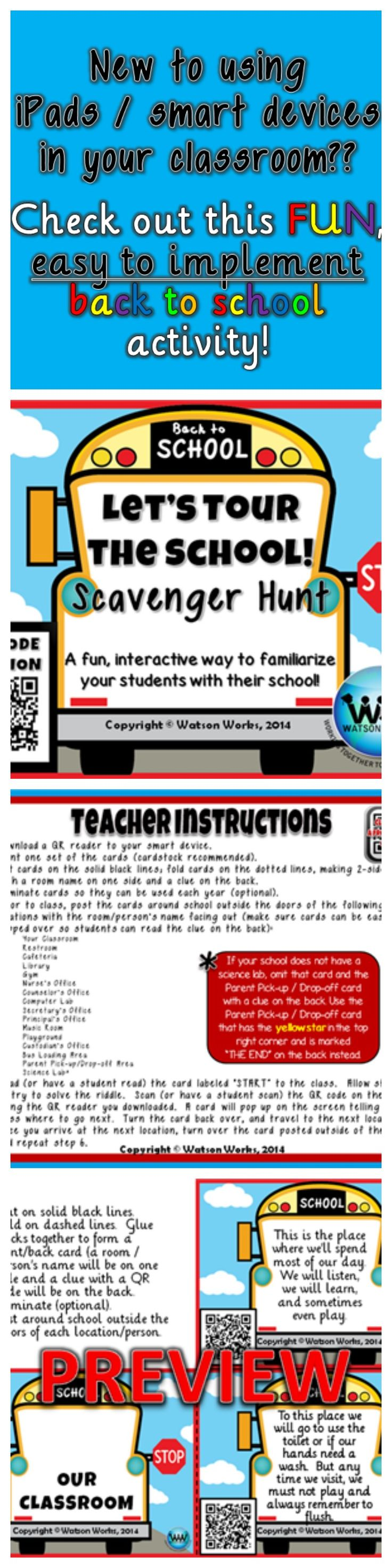 $3.  If your school has purchased iPads/smart devices and you are a little leery of using them, QR code activities are one of the easiest ways to implement these devices in your classroom.  In this back to school scavenger hunt, you will familiarize your students with important people and places in their school in a fun, interactive way. (reg. $3) July-Aug.