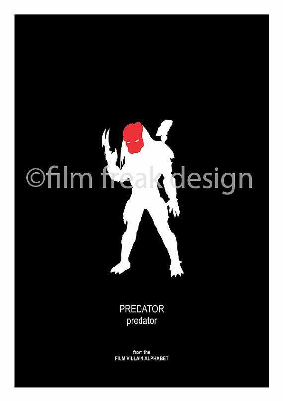 PREDATOR from Predator Film Villain Poster Silouhette Black