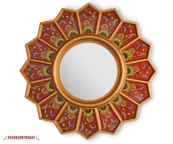 Round Sunburst Mirror 'Red sunflower' - Small Decorative Wall Mirrors- Reverse Handpainted glass -Preuvian Handicrafts - Interior Decoration