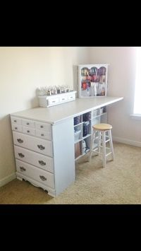 Craft table made out of old dresser