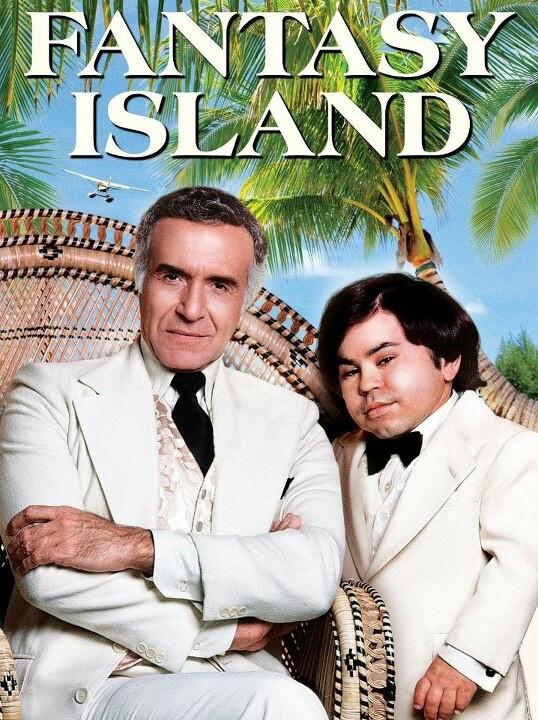 Fantasy Island, the plane, the plane, I see the plane...Ricardo Montalban as Mr. Roarke and Herve Villechaize as Tattoo.