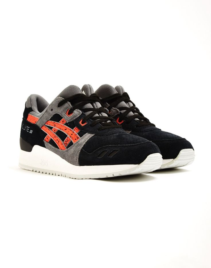 Asics Gel-Lyte III Trainer Red/Grey with granite effect on stripes,  perforated