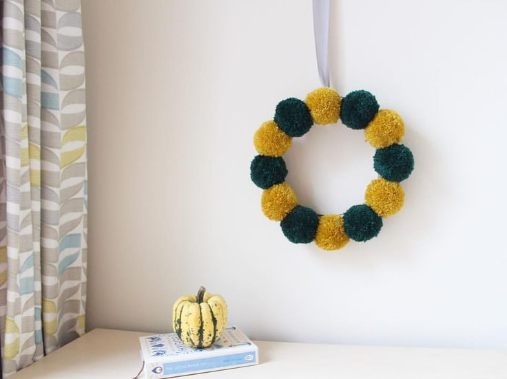 """Pom Pom wreath, home Decor on etsy shop 225 Likes, 21 Comments - Ella Connolly (@ellascribbles) on Instagram: """"Not keen on the taste of mustard but I really enjoy the colour 😍 If you've started Christmas…"""""""