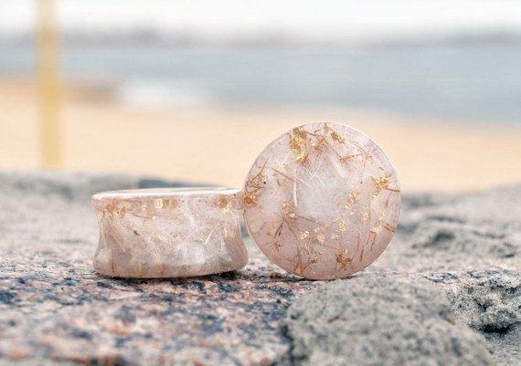 terrarium jewelry, flesh tunnels plugs, dandelion resin plugs, plugs dandelion, dandelion puff plugs, Plug Earrings resin, transparent plugs