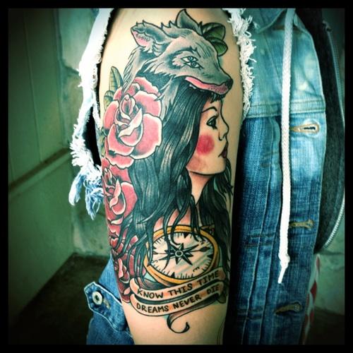 Wolf Headdress Tattoo: Wolf Headdress #color #tattoo #arm