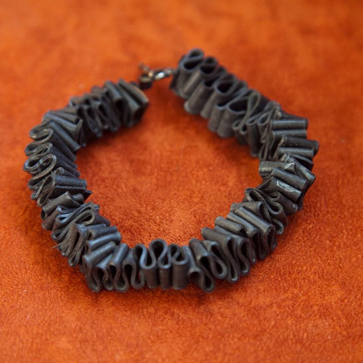 Zig-Zag Bike Tube Bracelet. $20.00, via Etsy.