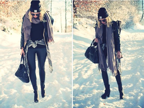 Snow & leather (by Jane Lane) http://lookbook.nu/look/4347471-snow-leather