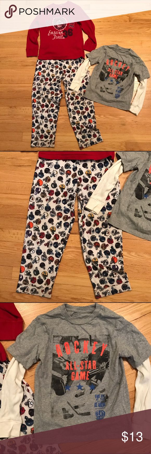 LOT OF THREE Boys Shirts Pajama Pants Size 6-8 Reasonable offers considered 🛍 Bundle 2 or more items and save! 🎁 Bundle 5 items and I will reimburse the shipping fee 🎉. Help your little man keep warm! Includes: 1) NFL team football helmet pajama pants size 7; 2) Gap Kids Long Thermal Sleeves Hockey All Star Game shirt size 6-7; 3) Children's Place red Thermal Valley League Trails shirt size medium 7/8. Preloved and in great condition. Children's Place Other