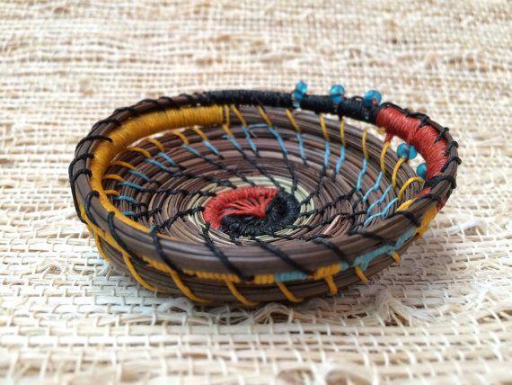 Cesto recipiente Home Decor artesanal de agujas de pino