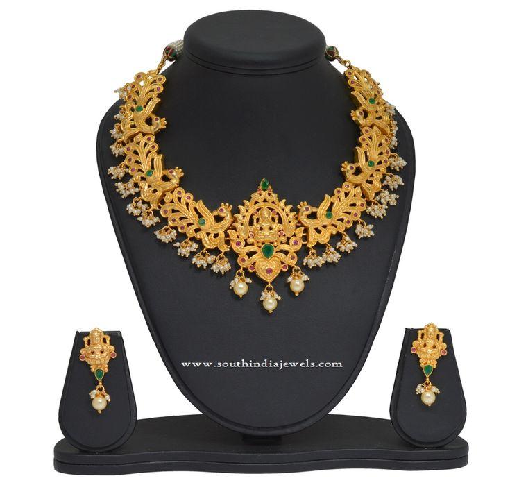 Temple Lakshmi Necklace Designs, Antique Temple Lakshmi Necklace Models, One Gram Gold Temple Lakshmi Necklace Designs.