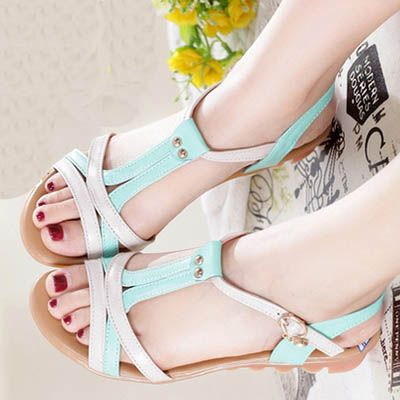 Sweet Cross Strap Hollow Open Toe Low Heel Casual Summer Amazing Flat Sandals
