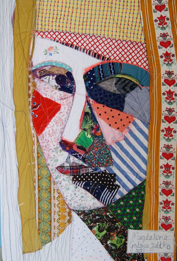 self-portrait textile art portrait canvas fabric by makkireQu