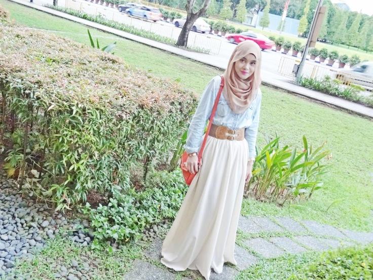 Denim/White Skirt