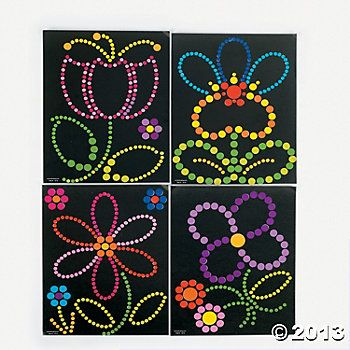 Sticker Dot Art - Spring Flowers