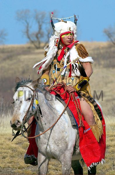 Plains First Nations rider in regalia, Wanuskewin Heritage Park, Saskatoon, Saskatchewan - Photo by Tim Graham