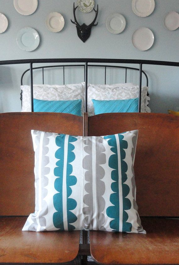 Designer Decorative Pillow Cover - Echo in Teal and Grey - 18 inch - Throw Pillow Cover - $28