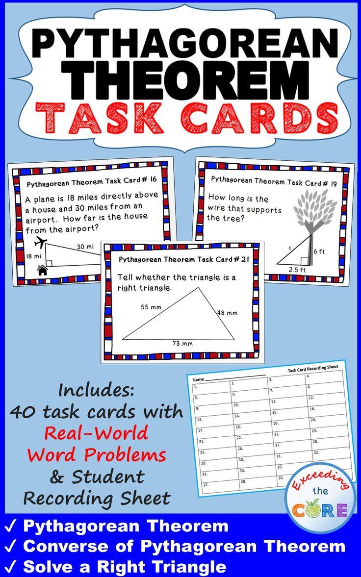 Fresh Ideas - PYTHAGOREAN THEOREM Task Cards {40 Cards} Pythagorean