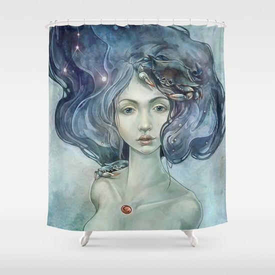 Zodiac Cancer Shower Curtain, fantasy portrait    design by strijkdesign