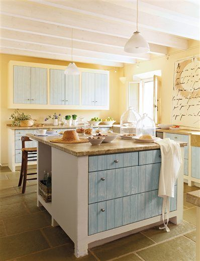 Color in a farmhouse kitchen  kitchen ideas  Pinterest