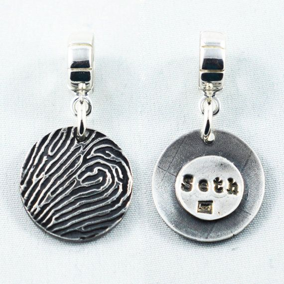Memorial Jewelry Fingerprint Pendant Pandora Style with Your Loved One's Actual Fingerprint - Fingerprint Jewelry - Use Coupon Code PINIT to get 10% OFF Your Purchase