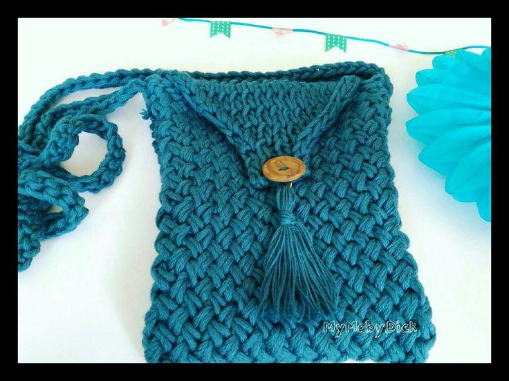 Bolso tejido a mano. Bolso. Bandolera. Punto cesta. Dos agujas. Handknitting. Knitting bag.