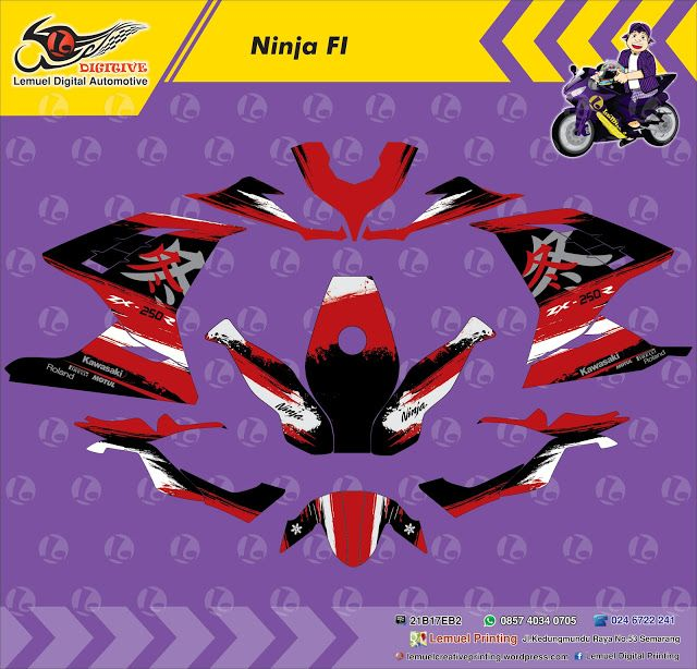 Custom Decal Vinyl Striping Motor Full Body Kawasaki Ninja 250 FI Thema Strip Red Black Japan Berkualitas by DIGITIVE #DecalVinylStripingMotorFullBody #DIGITIVE #KreatifitasLeMuel #LeMuel #ProdukProdukKreatifLeMuel #StripingMotorFullBody #StripingMotorKawasakiNinja #StripingMotorSemarang