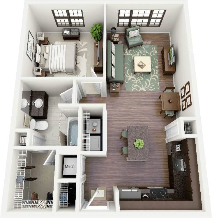 One Bedroom Apartments: Small Size With Max Function – Home Design 3d House Plans, House Layout Plans, Modern House Plans, Small House Plans, Layouts Casa, Bedroom Layouts, House Layouts, Bedroom Ideas, Design Bedroom