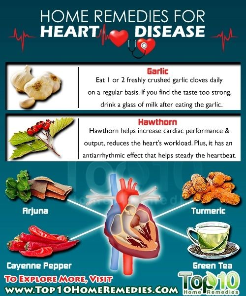 Home Remedies for Heart Disease. Eat one or two freshly crushed garlic cloves daily. If you find the taste too strong, drink a glass of milk after eating the garlic.