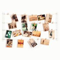Foto waslijn voor aan de muur. Foto's en kaarten met knijpers hangen!