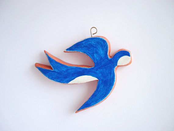 Bird wall decor  blue swallow  minimal by FishesMakeWishesHome, $18.00