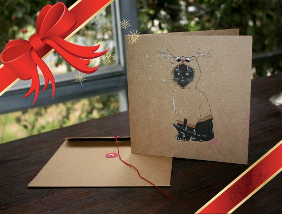 Prince Artemis Cat Kraft Christmas Card by Enixy on Etsy