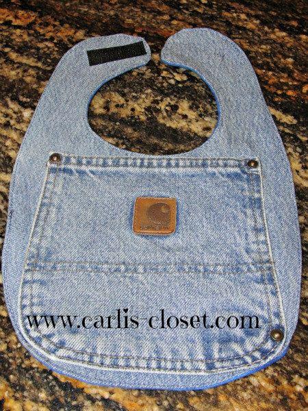 Baby Boy Carhartt Blue Jean Denim Bib. Would be cute if you used Wrangler jeans.