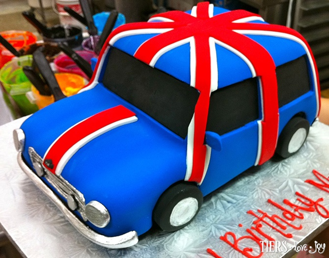 Sculpted Union Jack Mini Cooper Cake by Beverly's Bakery