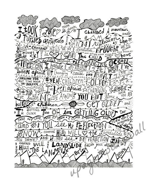 hand lettered in black and white 8x10 print words of wisdom in 2019 landslide lyrics black. Black Bedroom Furniture Sets. Home Design Ideas