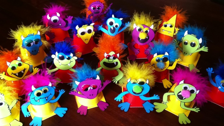 Toddler treats: danone yoghurt monsters :0) for First birthday of Joris.