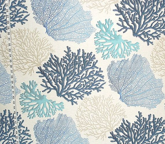 Hey, I found this really awesome Etsy listing at http://www.etsy.com/listing/175765202/blue-coral-fabric-aqua-ocean-yardage