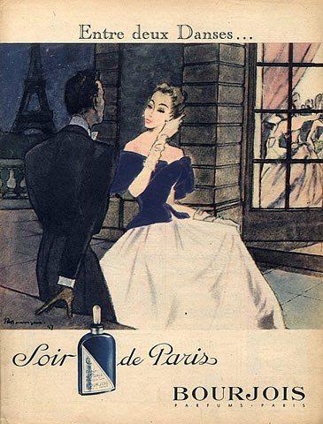 Bourjois 1947 Soir De Paris Pierre Mourgue Eiffel Tower Elegant Dancer