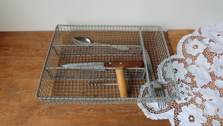Vintage Wire Silverware Caddy, Metal Flatware Holder, Rustic Cutlery Box, Table Top Utensil Tray, Knife box, Wicker Basket, Kitchen storage by RAGMAN770 on Etsy