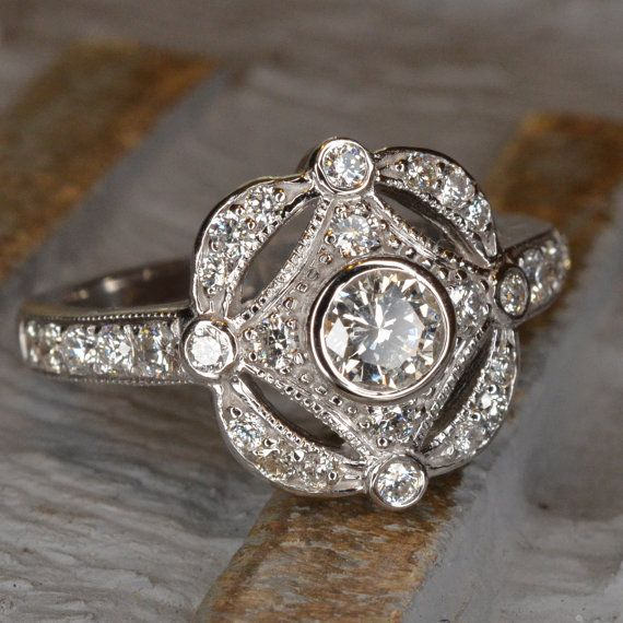 Roaring 20's / Art Deco Diamond Ring (18k White Gold) on Etsy, £1,067.55
