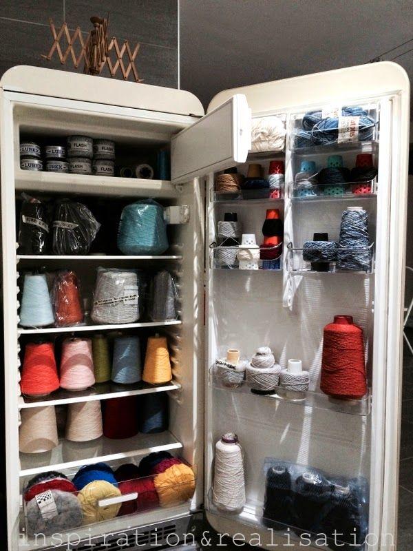 DIY yarn organization: repurposed old fridge - high fiber diet!