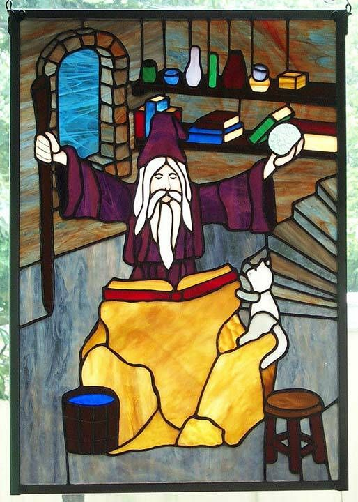 Wizard Stained Glass Panel