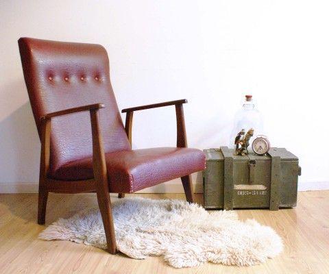 Vintage skai lederen fauteuil rode retro stoel soekis for Ikea fusion tafel