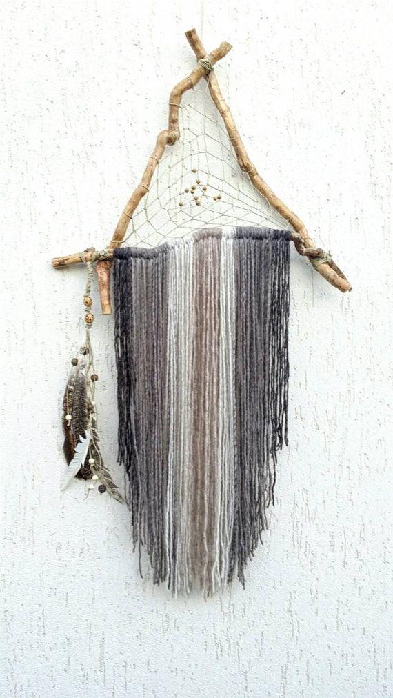 Dream catcher Bohemian décor triangle by handmadebyfofo on Etsy