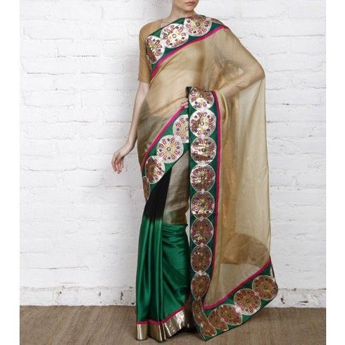 Beige & Green Kota Silk Saree